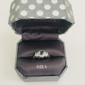 Blue Topaz Color Ring Silver Band